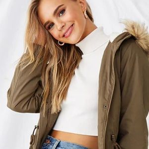 NWT Forever 21 Faux Fur Hooded Parka , Olive